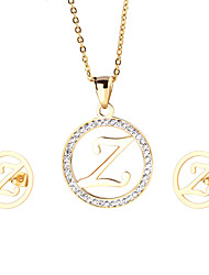 Trendy Stainless Steel 18K Gold Plated Capital Letter Z Pendant Necklace And Earrings Jewelry Sets For Women Cheap Accessories Friendship Gifts