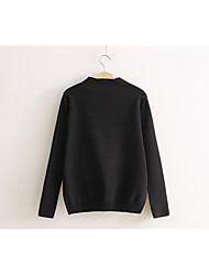 Damen Standard Pullover-Ausgehen Lässig/Alltäglich Einfach Aktiv Solide Schwarz Grau Orange Rundhalsausschnitt Langarm Baumwolle Winter