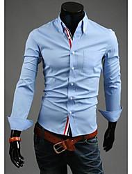 Для мужчин Официальные Офис Пляж  Все сезоны Рубашка Воротник Питер Пен,Простое Уличный стиль Шинуазери (китайский стиль) Однотонный