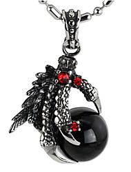 Punk Style Pendant Charm Necklace 316L Stainless Steel Retro Carving Dragon Claw Shape Agate Jewelry
