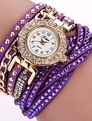 Women's Fashion Watch Wrist watch Bracelet Watch Quartz Punk Colorful PU BandVintage Sparkle Candy color Flower Bohemian Charm Bangle