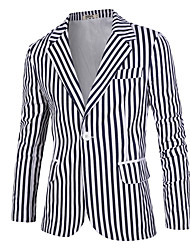 Men's Wedding / Going out / Casual/Daily Vintage / Simple / Boho Spring / Fall Blazer,Striped Notch Lapel Long Sleeve White Cotton Thin