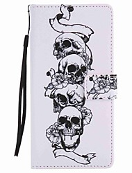 For  Xperia XA Ultra X Performance Z5 Case Cover Skull Painted Lanyard PU Phone Case