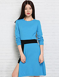 Women's Casual/Daily Simple Sweater Dress,Patchwork Round Neck Knee-length Long Sleeve Blue / Red Cashmere Fall Mid Rise Micro-elastic
