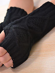 Women Wool Half Finger Elbow Length,Jacquard Casual Winter