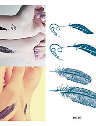 1pc Feather Tattoo Stickers Animal Series CartoonBaby / Child / Women / Men Flash Tattoo Temporary Tattoos