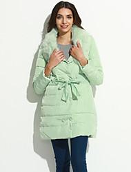 Women's Solid White / Black / Green / Purple Down Coat,Cute / Street chic V Neck Long Sleeve