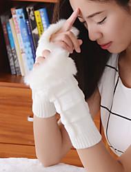 simples difusa malhas geométricas comprimento cotovelo metade do dedo bonito / partido das mulheres / luvas de inverno casuais