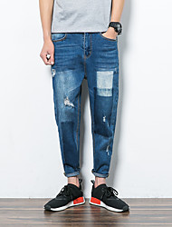 Men's Straight Chinos Pants,Casual/Daily Vintage Solid Low Rise Zipper Linen Micro-elastic Spring