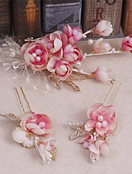 Women's Alloy / Imitation Pearl / Fabric Headpiece-Wedding / Special Occasion / Casual Headbands / Wreaths 3 Pieces