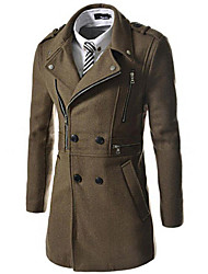 Masculino Casaco Casual Simples Outono / Inverno,Sólido Azul / Preto / Marrom / Verde Lã / Algodão Colarinho de Camisa-Manga Longa Média