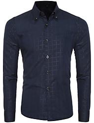 Men's Casual/Daily Simple Spring / Fall ShirtSolid Shirt Collar Long Sleeve Blue / White / Black Cotton Medium hot sale
