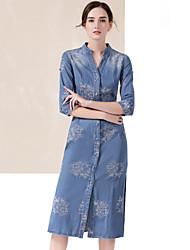 Denim Robe Femme Décontracté / Quotidien simple,Couleur Pleine Col en V Mi-long ½ Manches Bleu Spandex Printemps Taille HauteNon