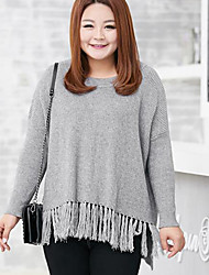 Women's Plus Size Casual/Daily Simple Regular Pullover,Solid Black Gray Round Neck Long Sleeve Polyester Nylon Fall Winter Medium