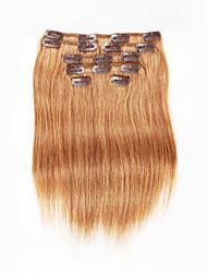 7 pièces / set clip dans les extensions de cheveux marron 14inch 18inch cheveux 100% pour les femmes