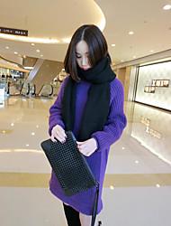 Damen Standard Pullover-Ausgehen Lässig/Alltäglich Einfach Solide Grau Lila Rundhalsausschnitt Langarm Polyester Herbst Winter Mittel