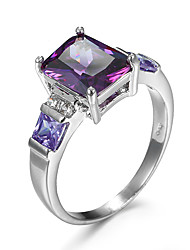 Ring AAA Cubic Zirconia Zircon Cubic Zirconia Alloy Fashion Purple Champagne Jewelry Casual 1pc