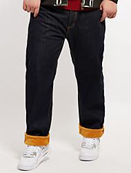 Men's Solid Blue / Black Jeans Pants,Simple Winter