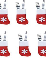 6pçs natal meias bandeja talheres pequenos meias