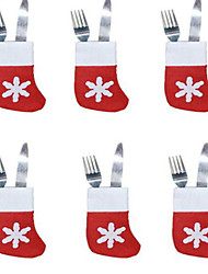 6pcs natal meias bandeja talheres pequenos meias