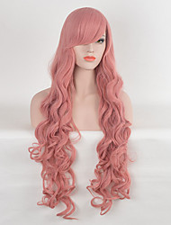 Beautiful Women's Wavy Pink Color Long Cosplay Synthetic Wigs