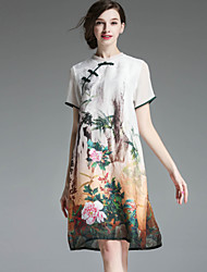 MMLJ Women's Casual/Daily Chinoiserie Loose DressFloral Round Neck Knee-length Short Sleeve White Silk Summer Low Rise Inelastic Medium