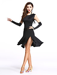 Latin Dance Dresses Women's Performance Spandex / Milk Fiber Split / Tassel 1 Pieces Sleeveless Natural Dance Costumes Black