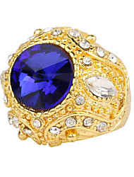 New Turkish Fashion Men Women Wedding Ring 18k Gold Plated Jewelry Imitate Sapphire Ruby Green Golden Crown Finger Ring