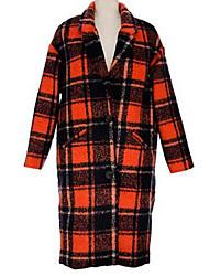 Manteau Femme,Couleur Pleine Sortie / Décontracté / Quotidien simple Manches Longues Orange Polyester