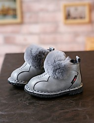 Girl's Boots Winter Other PU Fur Casual Flat Heel Pink Red Gray Walking