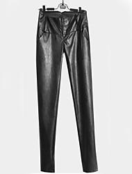 Feminino Skinny Chinos Calças-Cor Única Casual Moda de Rua Cintura Alta Botão PU Stretchy Outono / Inverno