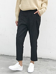 Women's Harem Business Pants,Casual/Daily / Sports Simple / Active Striped Mid Rise Elasticity Cotton Micro-elastic Fall