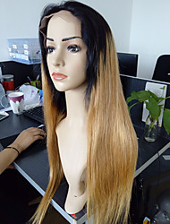 Full Lace Human Hair Wigs Straight 7A Brazilian Glueless Lace Front Wig #1B/27 Ombre Wig Two Tone With Baby Hair 130 Density