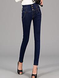 Damen Skinny Jeans Hose-Ausgehen Street Schick einfarbig Hohe Hüfthöhe Knopf Baumwolle Micro-elastisch Winter