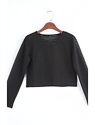Women's Going out Street chic Fall T-shirt,Patchwork Round Neck Long Sleeve Black Polyester Sheer / Thin