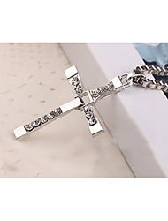 Homens Colares com Pendentes Formato de Cruz Liga Geométrico Religioso Jóias Para Halloween