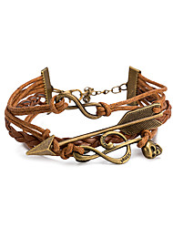 Neutral Europe and The United States Punk Wind Restoring Ancient Ways Leather Cord Bracelet With Leather Zinc Alloy Rope Chain Winding Bracelet Gift