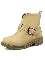 Women's Pull-on Low-Heels PU Solid Low-top Boots