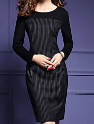 Thickened fashion stripe dress 2016 new winter commuter OL female long-sleeved dress was thin big yards
