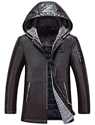 Men's Casual/Daily Simple Leather Jackets,Solid Hooded Long Sleeve Winter Black / Brown PU Thick