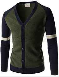 Men's Casual/Daily Simple Shirt,Color Block V Neck Long Sleeve Blue / Red / Green Rabbit Fur