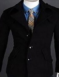 Men's Casual/Daily Simple Coat,Solid Shirt Collar Long Sleeve Spring / Fall Blue / Red / Black / Gray Wool / Nylon Medium