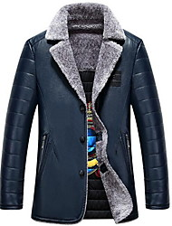 Men's Casual/Daily Simple Leather Jackets,Solid Shirt Collar Long Sleeve Winter Blue / Black / Yellow PU Thick