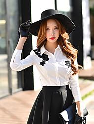 Feminino Camisa Social Casual / Formal / Trabalho estilo antigo / Fofo / Sofisticado Primavera / Outono,Sólido / Estampa Colorida Branco