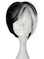 101 Dalmatians Women Synthetic Short Straight Black Color White Highlight Cosplay Costume Party Wig