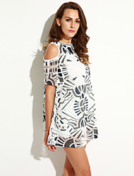 Women's Going out Street chic A Line Dress,Print Round Neck Mini Short Sleeve White Polyester Summer