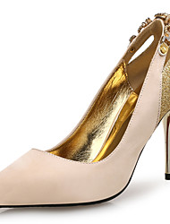 Women's Heels Novelty Leather Glitter Microfibre Wedding Office & Career Dress Stiletto Heel Crystal Beading Sparkling Glitter Black Gold