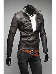 Vestes en Cuir Hommes,Couleur Pleine Décontracté / Quotidien simple Manches Longues Noir / Marron Cuirs Particuliers