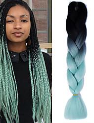 "Black Light Green Ombre Crochet 24"" Yaki Kanekalon 2 Tone Jumbo Braids 100g Synthetic Hair"
