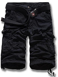 Hommes Droite Shorts Pantalon,simple Décontracté / Quotidien Couleur Pleine Taille Normale fermeture Éclair Polyester Micro-élastique Eté